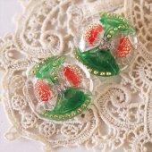 チェコ ボヘミアガラスボタン 2つの花と星屑/GR×RE