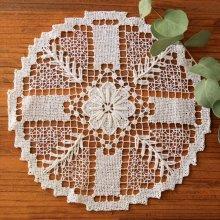 アンティーク クロッシェレースドイリー 十字と花