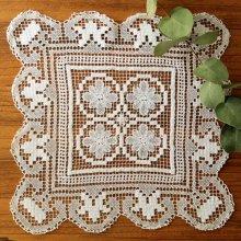 アンティーク クロッシェレースドイリー 四角×4つのお花