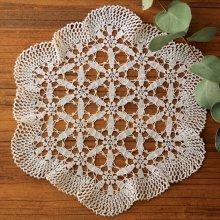 アンティーク クロッシェレースドイリー 六角形×小花模様