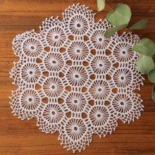 アンティーク クロッシェレースドイリー 六角形×蜂の巣