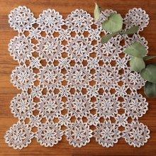 アンティーク クロッシェレースドイリー 四角×たくさんのお花