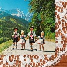 オーストリアのポストカード チロリアンの子供達02