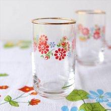 ドイツ ヴィンテージグラスS 赤い小花模様