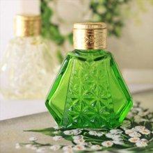 チェコ ボヘミアガラス 香水瓶 六角×ダイヤGR