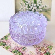 チェコスロバキア ボヘミアガラスの小物入れPU お花
