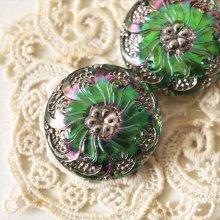 チェコ ボヘミアガラスのボタン 渦巻く花/GRオーロラ