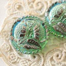 チェコ ボヘミアガラスのボタン 2つの花と星屑/LGRオーロラ