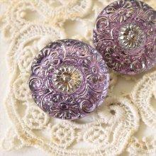 チェコ ボヘミアガラスのボタン 小花模様/PUオーロラ