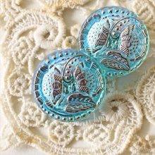 チェコ ボヘミアガラスのボタン 2つの花/LBLオーロラS