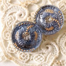 チェコ ボヘミアガラスのボタン 2つの花/DBLオーロラS