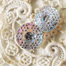 チェコ ボヘミアガラスのボタン 粒粒お花/CLオーロラSS