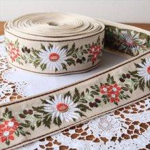 ドイツ 刺繍のチロリアンテープ マーガレットRE/50cm