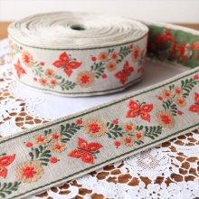 ドイツ 刺繍のチロリアンテープ 蝶々とお花RE/50cm