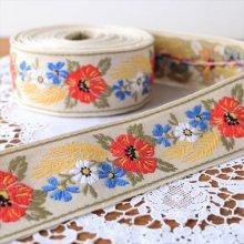 ドイツ 刺繍のチロリアンテープ 小麦とお花/50cm