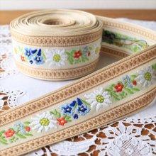 ドイツ 刺繍のチロリアンテープ エーデルワイスBE/50cm