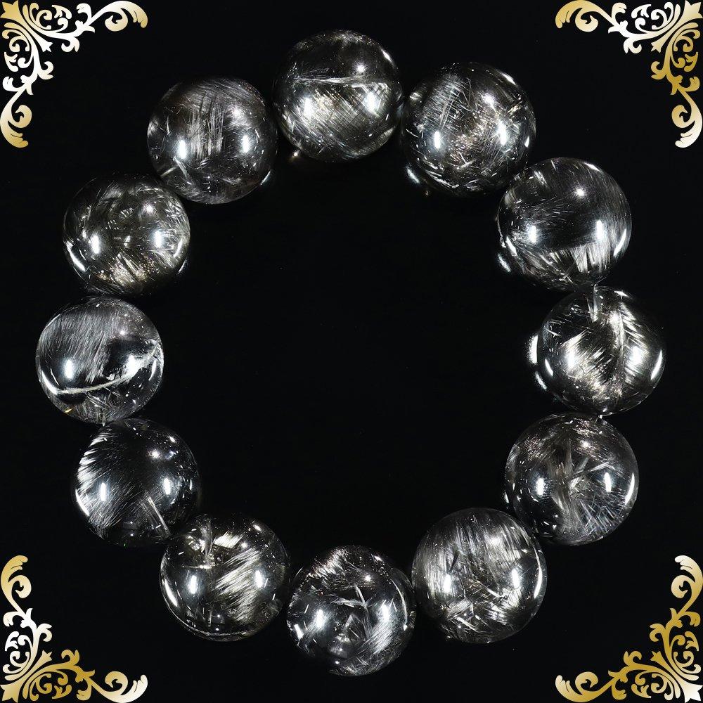 【最高峰】プレミアムS ブラックプラチナルチルクォーツ 19.3mm〜20.6mm玉 ブレスレット(型番spfr000)[手首サイズ19cm]の画像3