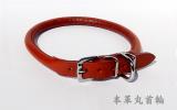 本革丸首輪(赤)4号サイズ [瀬川製作所]