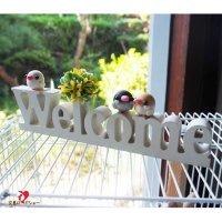 【大人気!】【ハンドメイド】Happi Happiハピハピ「ウェルカムボード・白文鳥&桜文鳥&シナモン文鳥」ホワイト