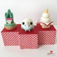 【ハンドメイド】小鳥のインテリア♪Happi Happiハピハピ「迎春・水色セキセイインコ」お正月飾り