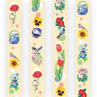【大人気!】【Creative motionオリジナル】お花いっぱい文鳥マスキングテープ「文鳥と四季の花」