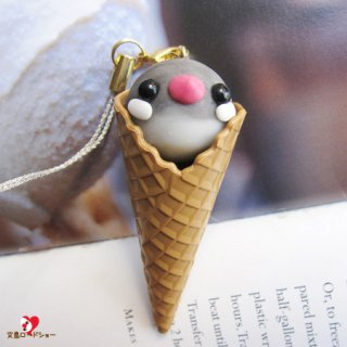Happi Happiハピハピ「文鳥アイス・キーホルダーor携帯ストラップ・桜のシングル」【ハンドメイド】