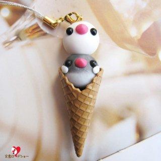 【残り僅か!】【大人気!】粘土作家 Happi Happi「文鳥アイスキーホルダーor携帯ストラップ・白と桜のダブル」
