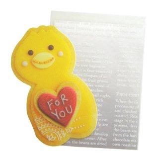 【生産終了・残り僅か!】ハートがぷっくり!クッキーヒヨコのメッセージカード「アニマルクッキーミニカード 」1pc