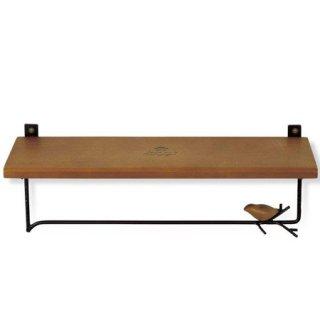 【生産終了・ラス1!】【ブラウン×ブラックのみ】小鳥のいる木製シェルフつきタオルハンガー「SCHILF」