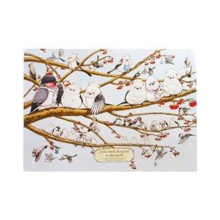 医療系雑貨生みたて卵屋・A3ポスター「シマエナガ分院」先生と看護師さんの野鳥たち