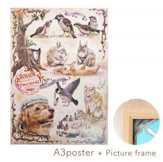 【額縁入り】医療系雑貨生みたて卵屋・A3ポスター「動物のお医者さん」看護師さんの文鳥・スズメetc