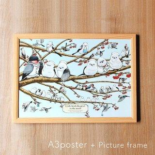 【簡易額縁つき】医療系雑貨生みたて卵屋・A3ポスター「シマエナガ分院」先生と看護師さんの野鳥たち