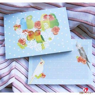 【Creative motion】オカメ,マメルリハ,コザクラ,ボタン/ラブバードメモ帳/水色ドットHappy Birds/1冊