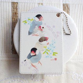 【ベストセラー】とりアート【文鳥】パスケース * ピュアホワイト* 白・桜・シナモン文鳥