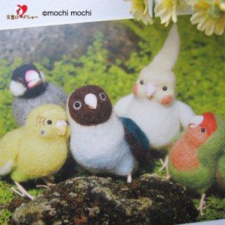 【残り僅か!】「なかよしインコ&文鳥 緑の中」mochi mochi nao' おとりさんズポストカード