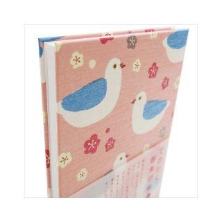 【育児日記・芳名帳にも】ハトの御朱印帳・桜ピンク/てのひらサインブック/はとぽっぽ
