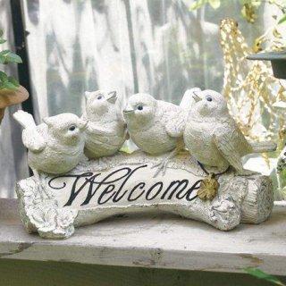 小鳥の庭飾り「4羽の小鳥のウェルカムボード」バード・ガーデンオブジェ