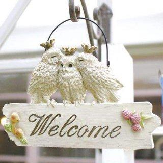 【生産終了・ラス1!】小鳥の庭飾り「キスするフクロウのウェルカムボード」ウェルカムプレート