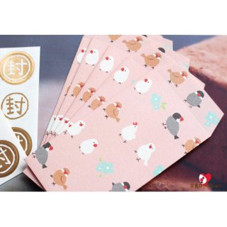 【大人気!】文鳥お正月グッズ*伊予和紙「ふわり ぶんちょう」文鳥の和紙ポチ袋/桜ピンク*かわいいシール付き
