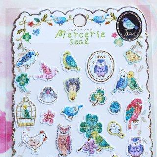文鳥・ハシビロコウ・シマエナガetc.刺繍風の幸せ小鳥シール♪/メルスリーシール/BIRDトリ