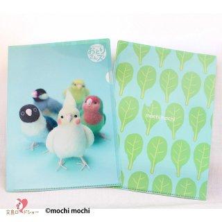 mochi mochi nao' おとりさんズ・A4クリアファイル *オカメ、ボタン、コザクラインコ&小松菜*水色