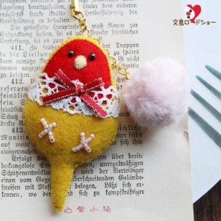 【1点もの】刺繍作家 白雪小箱【綿あめ&ゴールデンチェリーコザクラインコ】小鳥の刺繍ストラップ