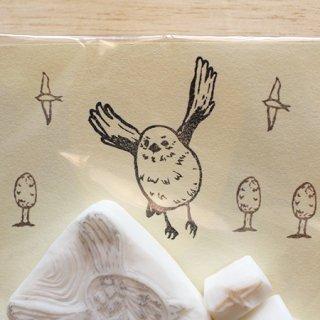 消しゴムはんこ作家 ゆにゃとりす【羽ばたきシマエナガ+飛ぶ鳥+木】小鳥ミックス♪はんこセット