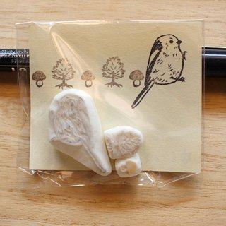 消しゴムはんこ作家 ゆにゃとりす【シマエナガ+きのこ+木】小鳥ミックス♪はんこセット