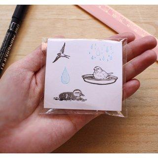 消しゴムはんこ作家 ゆにゃとりす【水浴び白文鳥+カルガモ+つばめ+しずく2種】小鳥ミックス♪はんこセット