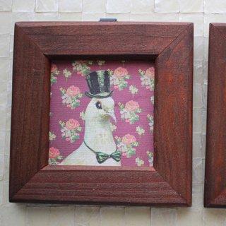 【残り僅か!】アクセサリー作家 mimeruミメル【鳩の紳士×正方形の木製額縁・縦9cm】小鳥の小さな額絵