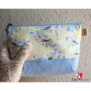ミニチュア作家 aietta【カノコスズメとミモザ】三角ポーチ*オリジナル生地・作家縫製