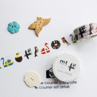 【mt×エリック・ブルーン】【鳥】2cm幅*北欧デザインのカラフル小鳥柄 マスキングテープ/1pc