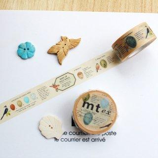 【mt ex】【鳥の卵 】約2cm幅*小鳥の卵を図説したマスキングテープ/1pc