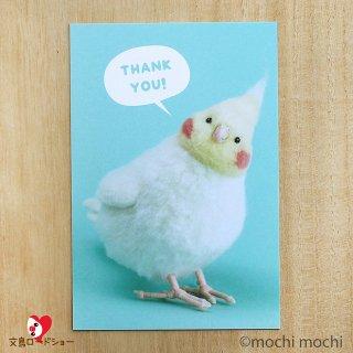 羊毛フェルト作家 mochi mochi nao'「THANK YOU」おとりさんズポストカード「オカメインコ」
